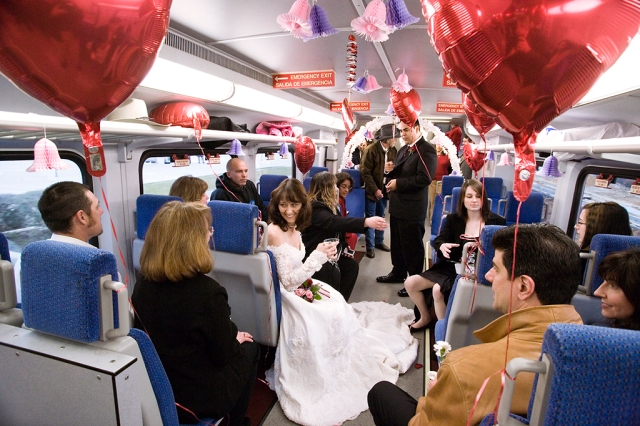 A couple gets married on a Trinity Railway Express train on Valentine's Day 2007. Click for more info.
