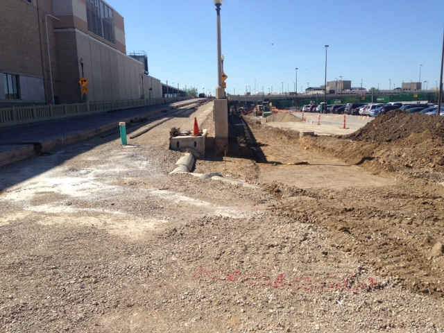 Construction continues on the north side of the Jefferson Street viaduct where a streetcar will soon travel.