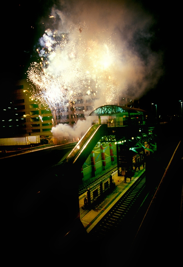 Fireworks celebrate the grand opening of Mockingbird Station in January 1997.