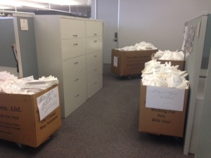 Boxes filled to the brim with Mayor's Back to School Fair handouts line the hallways at the DART headquarters in downtown Dallas.