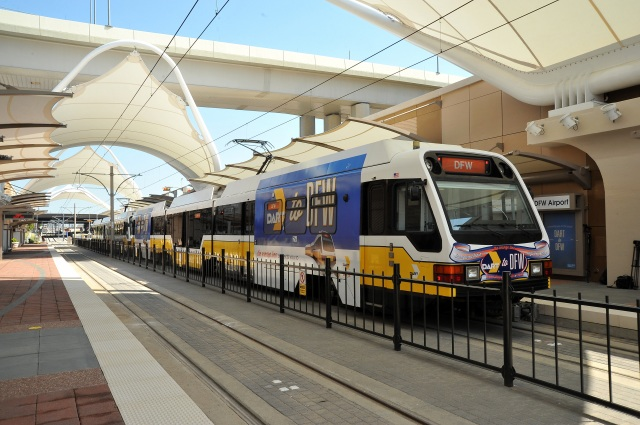 A DART light rail vehicle sits at DFW Airport Station