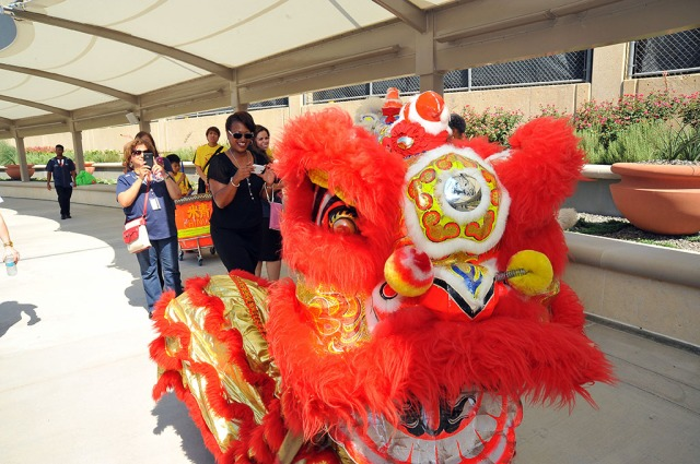 Dragon dancers escorted luncheon attendees away from DFW Airport Station