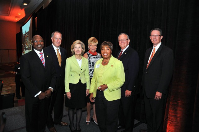 From left: Dallas City Councilman Tennell Atkins, DFW Airport CEO Sean Donohue, former U.S. senator Kay Bailey Hutchison, Fort Worth Mayor Betsy Price, Rep. Eddie Bernice Johnson, DART board member Robert W. Strauss and DART President and Executive Director Gary Thomas