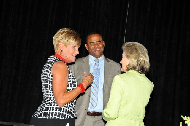 Fort Worth Mayor Betsy Price speaks with Rep. Marc Veasey and former U.S. senator Kay Bailey Hutchison.