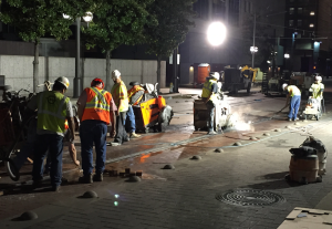 Crews work around the clock to get the rail replacement project done as quickly as possible.