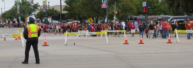 Hundred of fans make the two-block walk from DART's MLK, Jr. Station to the State Fair of Texas entrance.