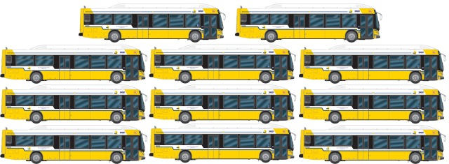 The combined weight of the food collected over the years equals eleven of DART's 40-ft buses.