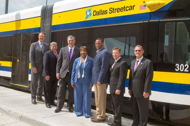 (Left to right) DART President and Executive Director Gary Thomas, Dallas County Commissioner Mike Cantrell, Dallas Mayor Mike Rawlings, U.S. Rep Eddie Bernice Johnson, U.S. Rep. Marc Veasey, DFW International Airport Executive Vice President of Operations Jim Crites and DART Board member Rick Stopfer