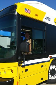 DART President & Executive Director Gary Thomas sits in the last NABI-branded bus.