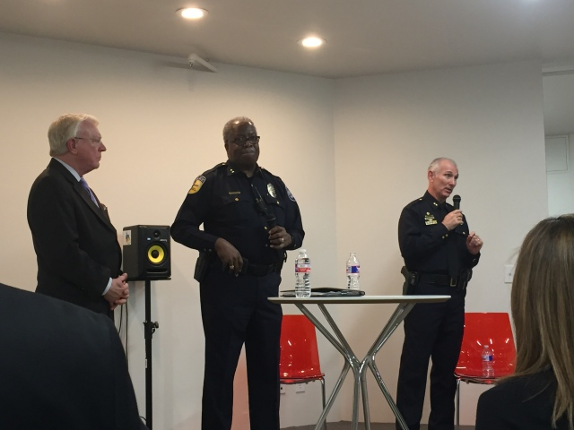 Downtown Dallas Inc. CEO John Crawford, DART Police Chief James Spiller and Assistant Dallas Police Chief Gary Tuttle. (Credit: Dallas Morning News)