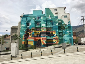 A mural by urban artist Ledania covers the facade of a building in Medellín, Colombia. Photo taken in September 2017 by Gustavo Zapata.