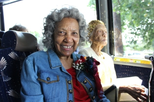 Dora Belle Freeman Mack, a graduate of Booker T. Washington High School in 1949 sits on board a tour bus June 3, 2019.